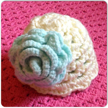 Baby Girl Infant Hat with Giant Rose Flower MORE COLORS, Sizes (Newborn Beanie) Spring Fashion, Clothes