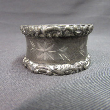 Vintage Pewter Napkin Ring Scrolled Border Engraved Flowers