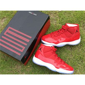 Air Jordan 11 Retro AJ11 All Red Color Nike Sport Basketball Shoes
