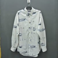 Nautica Shirt Vintage Nautica Button Down Shirt Nautica Boat Full Print Fishing Sailing Pocket Shirt Mens Size L