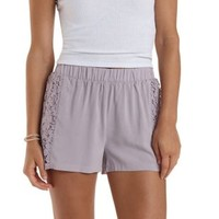 Purple Crochet Paneled High-Waisted Shorts by Charlotte Russe