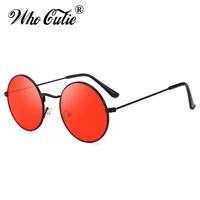 WHO CUTIE Summer Retro Round Sunglasses Brand Designer Men Women 2018 Vintage Circle black red pink Lens Sun Glasses Shades 652