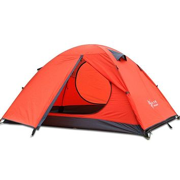3-4 Season 2 3 Person Lightweight Backpacking Tent Windproof Camping Tent Awning Family Tent Two Doors Double Layer with Aluminum rods for Outdoor Camping Family Beach Hunting Hiking Travel Orange-2 person