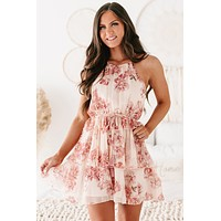 Holding Onto Hope Floral Tiered Ruffle Halter Dress (Blush/Rose)