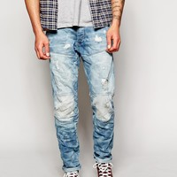 G Star Tapered Slim Light Aged Distressed Wash Jean