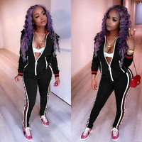Black Tracksuit with Contrast Bands