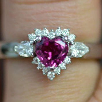 Sailor Moon Inspired Engagement Ring 14K White Gold Pink Tourmaline and Diamonds