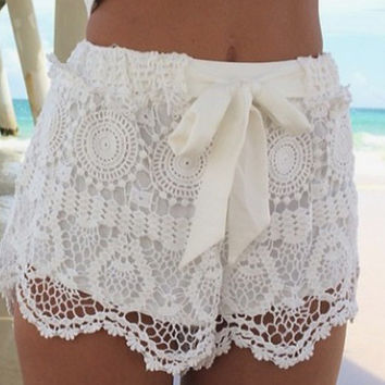 White Bow Cutout Lace Shorts