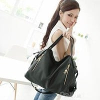 YESSTYLE: PG Beauty- Zip-Detail Shoulder Bag (Black - One Size) - Free International Shipping on orders over $150