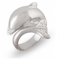 JanKuo Jewelry Silver Tone Cubic Zirconia Cute Dolphin Fashion Ring with Gift Box (Size 9)