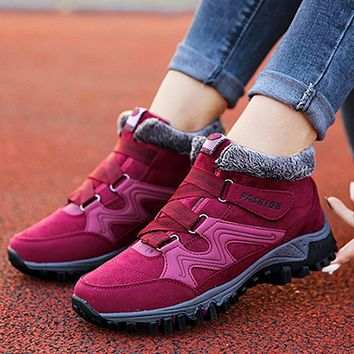 Unisex winter fashion casual waterproof snow boots hking running warm shoes outdoor sports shoes