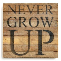 Second Nature By Hand 'Never Grow Up' Repurposed Wood Wall Plaque
