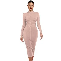 Nude High Neck Long Sleeve Midi Bandage Dress