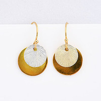 Simple gold disk earrings, coin earrings, everyday earrings, dangle earrings, mixed metal earrings, Petite Gold Disc Earrings, gifts for her