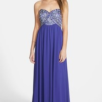 Junior Women's Sequin Hearts Embellished Strapless Gown