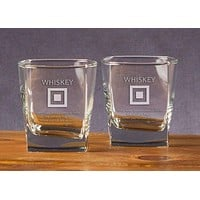Whiskey Flag Etched Double Old Fashioned Glassware (Set of 2) by Anchored Style