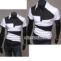 New Men's Caihao Premium Slim Pached Sleeves Polo T- shirts Black White N98B