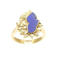 UNIQUE GENIUNE LAPIZ LAZULI & DIAMOND RING SET IN SOLID 18K YELLOW GOLD