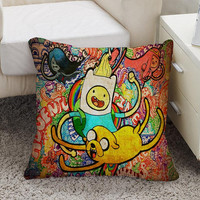 Adventure Time Jack And Finn painting art Square Pillow Case Custom Zippered Pillow Case one side and two side