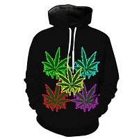 Melting Neon Weed Leaves Hoodie