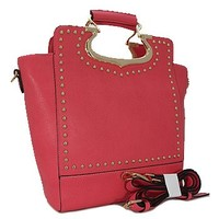Classy Top Handle Studded Fashion Tote Purse w/ Shoulder Strap Fuchsia