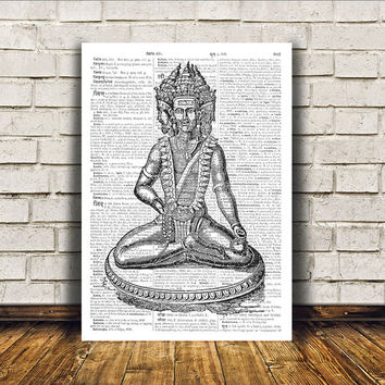 Hindu art Brahma poster New Age print Wall decor RTA153