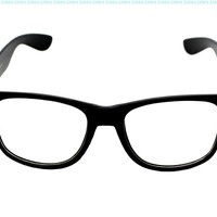 CLEAR LENS 80's Style Vintage Wayfarer Style Sunglasses. Many Colors For Frame,5.5w x 2h,Black Clear Lens:Amazon:Shoes