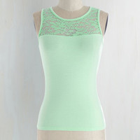 Short Length Sleeveless Awe Shook Up Top in Mint by ModCloth