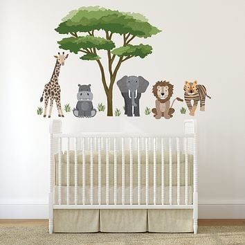 Safari Animal Wall Decals and Acacia Tree Decals, Nursery Wall Decals, Jungle Wall Stickers, African Animal Wall Decals
