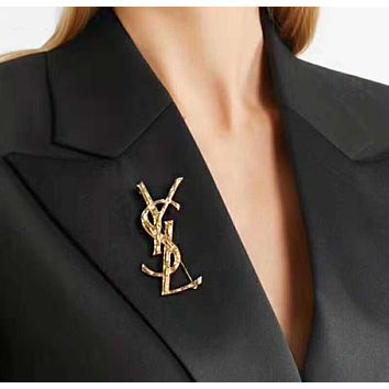 YSL Fashionable Women Chic Letter Brooch Accessories Jewelry Golden