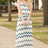 Summer Blues Strappy Maxi Dress