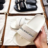 Balenciaga Popular Unisex Leisure Letter Print Sandal Slipper Shoes White I-ALS-XZ