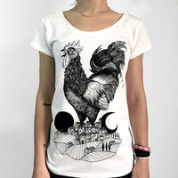 Rooster t-shirt, women's tshirt, Chicken shirt, Country T Shirt, Animal print, Vegan shirt, Steampunk clothing, Cock t shirt, farm t-shirt