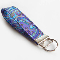 Paisley Key Fob / Floral Keychain / Blue Key Chain / Wrist Lanyard / Wristlet / Keychain Lanyard / Purple Floral / Back to School / Flowers