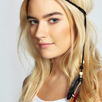 Ciara Plaited Feather & Bead Trim Headband