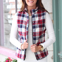 Bonfire Snuggles Plaid Quilted Puffer Vest {Wine+Navy}
