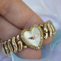 VINTAGE Gold GF Sterling MOP American Queen Sweetheart Bracelet Army Air Corps