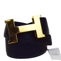 Auth HERMES Constance H Buckle Belt Leather Gold-tone Black France #75 88EC220