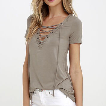 Enjoy the Ride Taupe Lace-Up Top