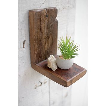 Set of 2 Small Recycled Wood Wall Shelves