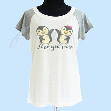 Penguin love shirt thin soft tops**off white grey**wide neck sweatshirt, crew neck tshirt size S M L  **quote tshirt