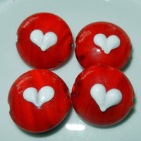 Red Round Glass Lampwork  Beads with White Heart in the Center, 3 Beads