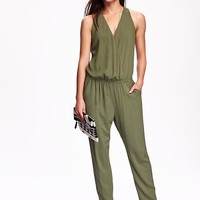 Old Navy Womens Cross Front Drapey Jumpsuit