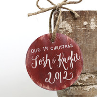 Baby's First Christmas Ornament Personalized - Rustic Christmas - Custom Colors - (H-1)