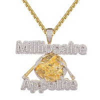 Millionaire Appetite Money Bill Plate Hip Hop Icy Mens Pendant