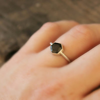 """Geometric ring Hexagon Black Spinel gemstone Sterling Silver ring modern simple clean style black and silver--""""Hex""""  FREE WORLDWIDE SHIPPING"""