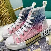 Dior CD new style hot sale film gradient high-top sneakers couple hip-hop sneakers casual flat shoes for men and women