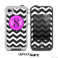 The Black & White Chevron Pattern with Pink Monogram v2 Skin for the iPhone 4-4s or 5 LifeProof Case
