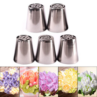 Pastry Tips Set 5Pcs/Lot Russian Tulip Icing Piping Nozzles Kitchen Cake Decoration Decor Tips Tool #83838