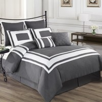 Cozy Beddings Lux Decor Collection 8-Piece Comforter Set with White Stripes, King, Grey